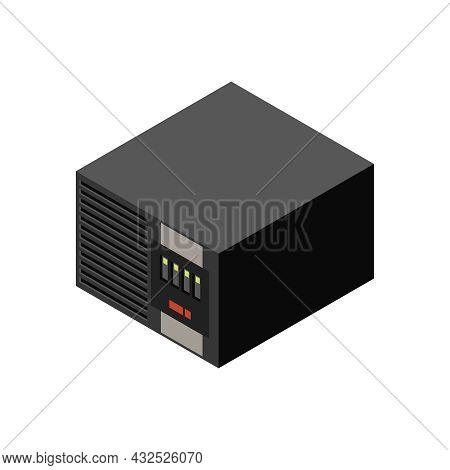 Ups Power Supply On White Background Isometric 3d Vector Illustration