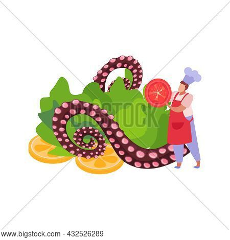 Professional Kitchen Color Icon With Chef Cooking Dish With Octopus Tentacles And Vegetables Flat Ve
