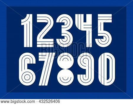Geometric Numbers Set, Vector Digits, Retro 90S Style Trendy Numerals Made With Geometry Elements, L