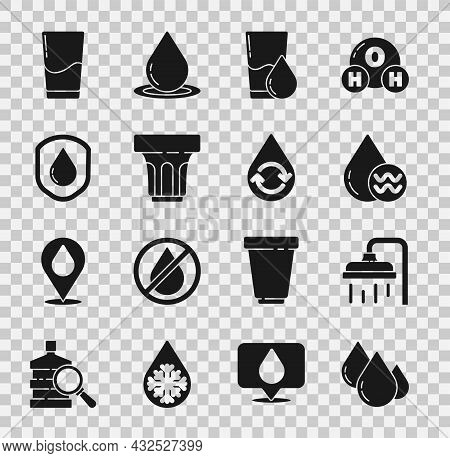 Set Water Drop, Shower Head, Recycle Clean Aqua, Glass With Water, Waterproof, And Icon. Vector