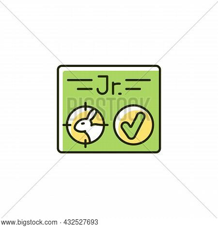 Junior Hunting License Rgb Color Icon. Hunt Birds And Animals. Hunter Confirmation For Children Unde