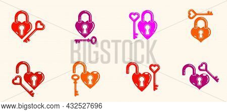 Heart Shaped Padlocks Vector Logos Or Icons Set, Locks And Turnkeys Love Theme In A Shape Of Hearts