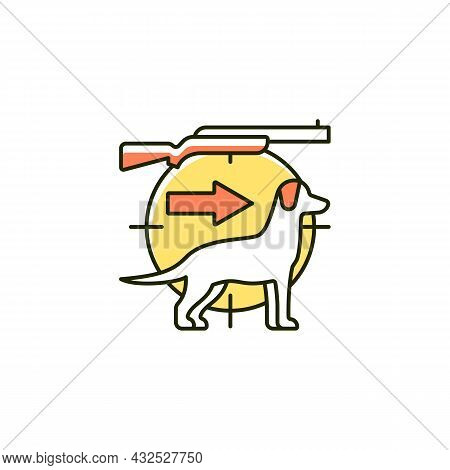 Dog Handler Rgb Color Icon. Hunting With Canine. Trained Hunting Dog. Hunt Companion. Breeds For Cat