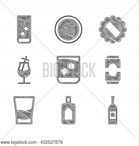Set Glass Of Whiskey, Whiskey Bottle, Vodka, Beer Can, Cocktail, Bottle Cap And Effervescent Tablets