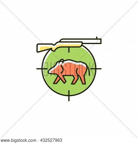 Wild Boar Hunting Rgb Color Icon. Capture And Kill Wild Hog. Feral Peccary And Pig. Hunting With Dog