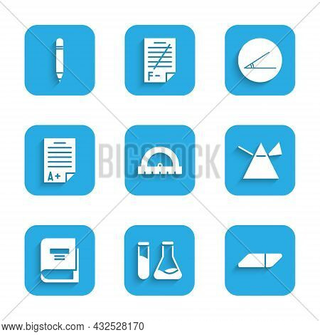 Set Protractor, Test Tube And Flask, Eraser Rubber, Light Rays In Prism, Book, Exam Sheet With A Plu