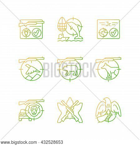 Wild Animals Hunting Gradient Linear Vector Icons Set. Big And Small Game Hunting. Capture Prey. Hun
