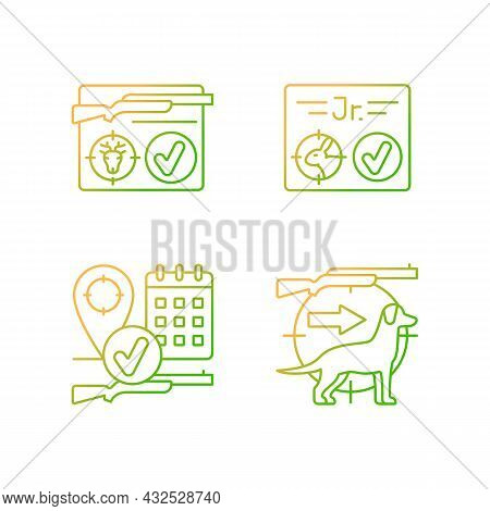 Hunting Regulations Gradient Linear Vector Icons Set. Resident And Junior Hunting License. Pursue An