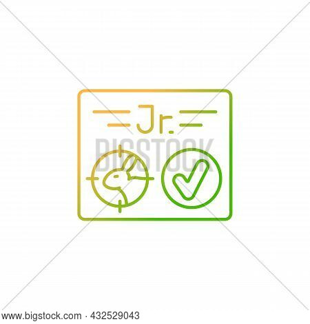 Junior Hunting License Gradient Linear Vector Icon. Hunt Birds And Animals. Hunter Confirmation For