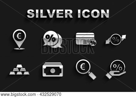 Set Stacks Paper Money Cash, Discount Percent Tag, Magnifying Glass And Euro, Gold Bars, Card With,