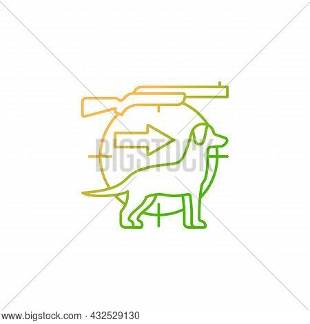 Dog Handler Gradient Linear Vector Icon. Hunting With Companion. Breeds For Catching Preys. Retrieve