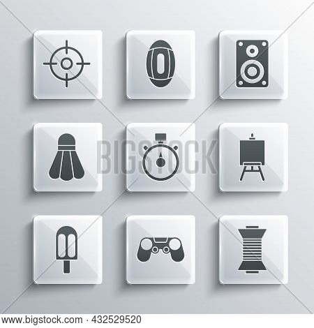 Set Gamepad, Sewing Thread On Spool, Easel Or Painting Art Boards, Stopwatch, Ice Cream, Badminton S
