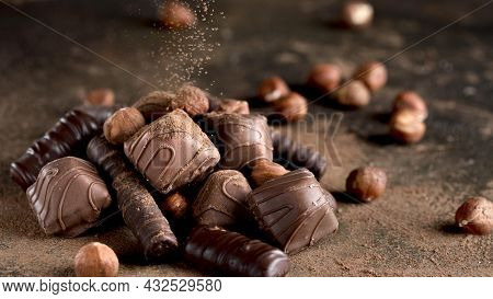 Close Up View Delicious Chocolate Assortment. High Quality Beautiful Photo Concept