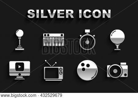 Set Retro Tv, Golf Ball On Tee, Photo Camera, Bowling, Online Play Video, Stopwatch, Joystick For Ar