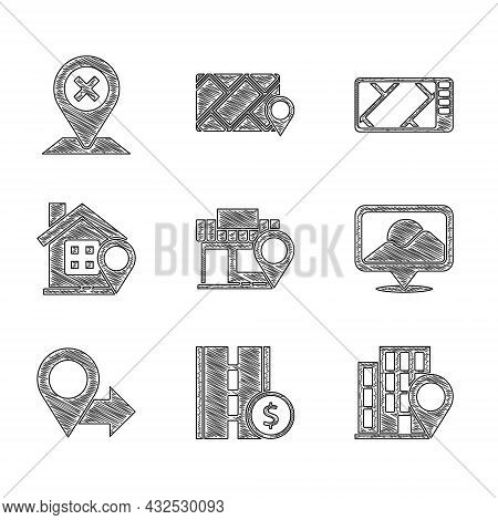 Set Location With Store, Toll Road Traffic Sign, House, Gps Device Map And Icon. Vector