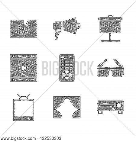 Set Remote Control, Curtain, Movie, Film, Media Projector, 3d Cinema Glasses, Retro Tv, Play Video,
