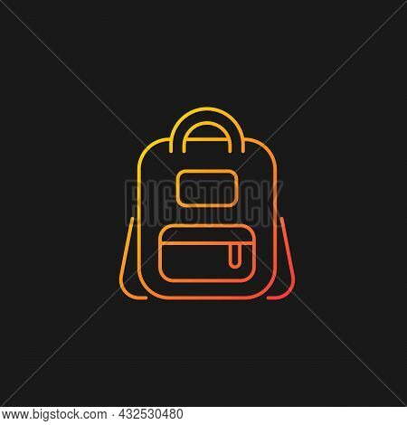 Schoolbag Gradient Vector Icon For Dark Theme. Bag For Carrying Books And Stationery Items. Backpack