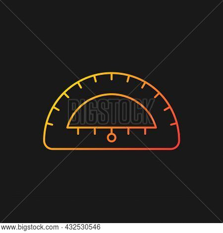 Protractor Gradient Vector Icon For Dark Theme. Instrument For Constructing, Measuring Angles. Simpl