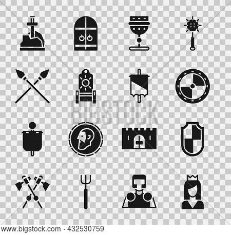 Set Princess, Shield, Round Wooden Shield, Medieval Goblet, Throne, Crossed Medieval Spears, Sword T