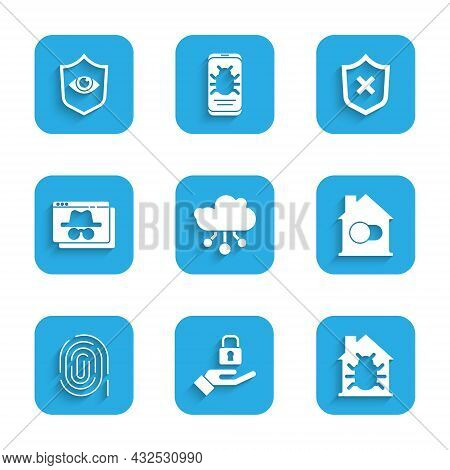 Set Internet Of Things, Lock Hand, House System Bug, Smart Home, Fingerprint, Browser Incognito Wind