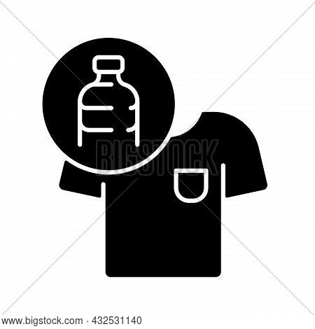 Clothes Made From Plastic Bottles Black Glyph Icon. Sustainable Clothing Item. Sustainable T Shirt.