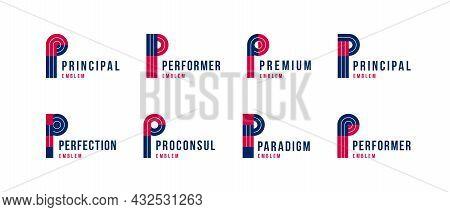 Letter P Logo Elements Set, Vector Trendy Retro Initial, Geometric Monogram Design Symbol P.