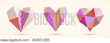 Low Poly Pattern Geometric Heart Vector Icons Or Logos Set, Graphic Design 3D Love Theme Element, Po