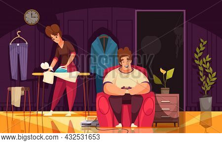 Family Daily Routine Cartoon Composition With Husband In Armchair Watching Tv And Wife Ironing Laund
