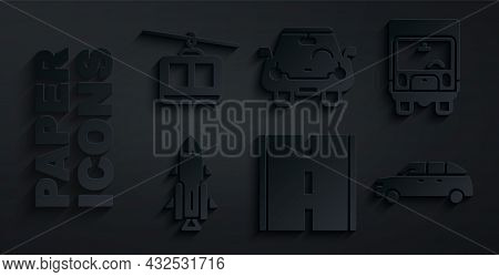 Set Road, Delivery Cargo Truck, Rocket Ship With Fire, Hatchback, Car And Cable Icon. Vector