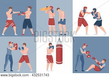 Boxing Six Square Compositions With Athletes Practicing Fight Each Other And Training With Coach Fla