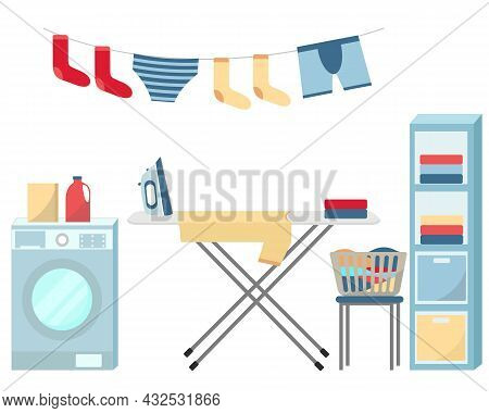 Washing And Ironing Clothes Vector Set. Laundry Items, Clothing And Textile Care. Collection Of Wash