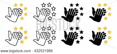 Applause Flat Icon Set. Human Clapping Hands With Stars. Quality Rating Symbol, Voting Rating. Vecto