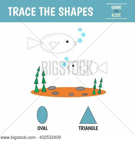 Learn Geometric Shapes - Triangle And Oval. Preschool Worksheet For Practicing Motor Skills. Fish Of