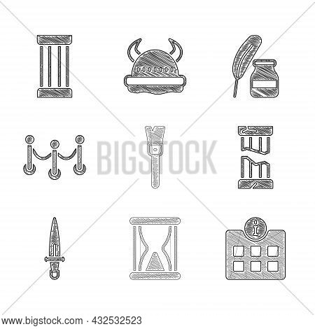Set Paint Brush, Old Hourglass With Sand, Information, Broken Ancient Column, Dagger, Rope Barrier,