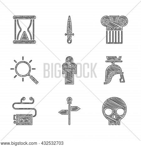 Set Gives Lecture, Road Traffic Signpost, Human Skull, Roman Army Helmet, Museum Audio Guide, Magnif