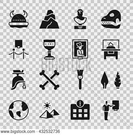 Set Museum Guide, Stone Age Arrow Head, Glass Showcase For Exhibit, Ancient Bust Sculpture, Medieval