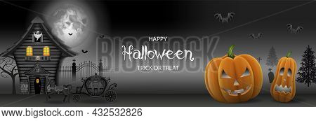 Halloween Banner With Haunted House And Pumpkins