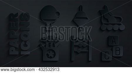 Set Abacus, Roller Skate, Jack In The Box Toy, Abc Blocks, Whirligig And Racket And Ball Icon. Vecto