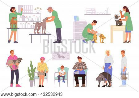 Veterinary Clinic Set Of Flat Isolated Icons Characters Of Waiting Pet Owners And Working Medical Sp