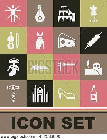 Set Bottle Of Olive Oil, Village Landscape, Rolling Pin, Coliseum Rome, Woman Dress, Violin, Vitruvi