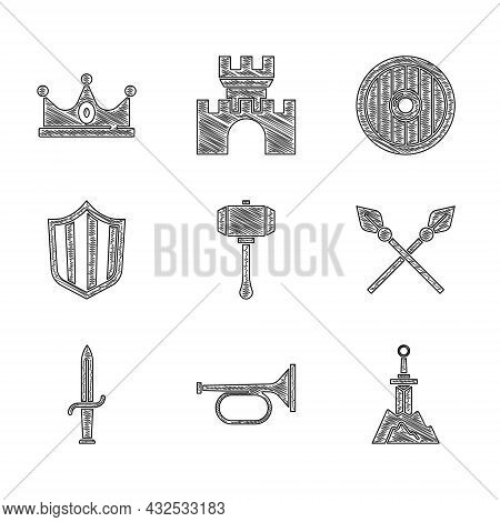 Set Hammer, Trumpet, Sword In The Stone, Crossed Medieval Spears, Dagger, Shield, Round Wooden Shiel