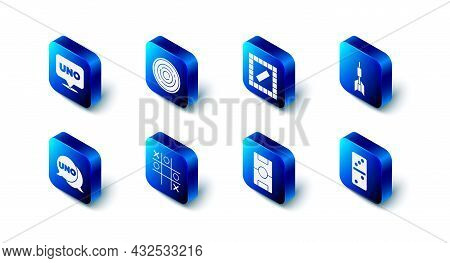 Set Checker Game Chips, Board, Dart Arrow, Domino, Hockey Table, Tic Tac Toe, Uno Card And Icon. Vec