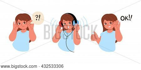 The Girl Cant Hear Anything.the Child Is Wearing Headphones And Make A Hearing Test.hearing Exam For