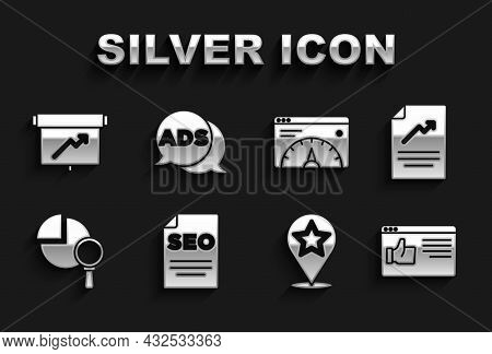Set Seo Optimization, Document With Graph Chart, Browser Window, Map Pointer Star, Magnifying Glass