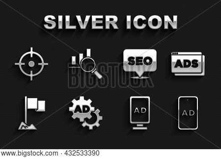 Set Advertising, Location Marker, Seo Optimization, Target Sport And Magnifying Glass And Analysis I