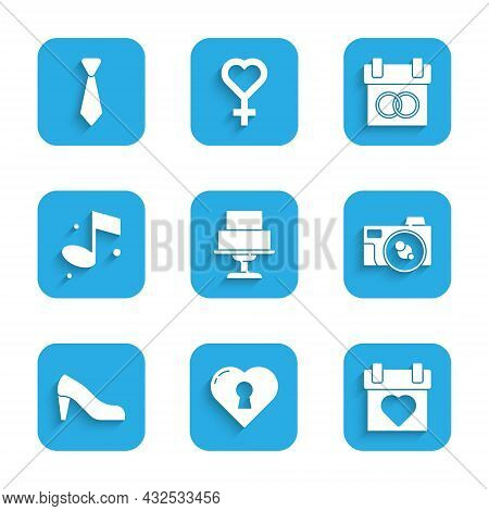 Set Wedding Cake, Heart With Keyhole, Calendar, Photo Camera, Woman Shoe, Music Note, And Tie Icon.