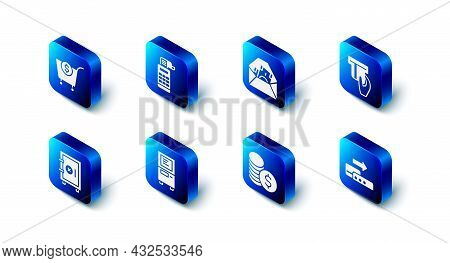 Set Cash Register Machine, Envelope With Dollar Symbol, Credit Card Inserted, Pos Terminal, Coin Mon