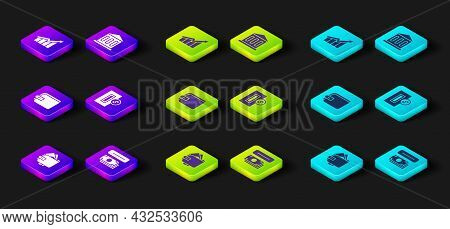 Set Wallet With Money, Atm And, Inserting Coin, Bank Building And Financial Growth Increase Icon. Ve