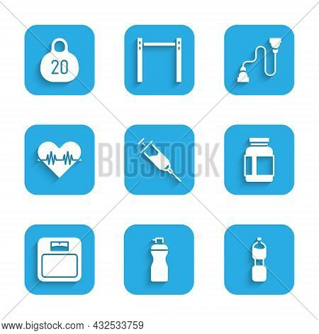 Set Doping Syringe, Fitness Shaker, Bottle Of Water, Sports Nutrition, Bathroom Scales, Heart Rate,