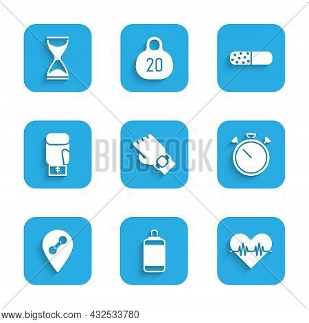 Set Smart Watch On Hand, Punching Bag, Heart Rate, Stopwatch, Location Gym, Boxing Glove, Vitamin Pi